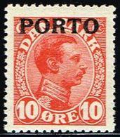 1921. Postage Due. Porto. Chr. X. 10 Øre Red (Michel P4) - JF158557 - Port Dû (Taxe)