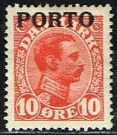 1921. Postage Due. Porto. Chr. X. 10 Øre Red (Michel P4) - JF158715 - Port Dû (Taxe)