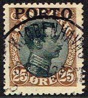 1921. Postage Due. Porto. Chr. X. 25 Øre Brown/black LUX KJØBENHAVN -6. 2. 23 (Michel P6) - JF164098 - Port Dû (Taxe)