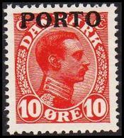 1921. Postage Due. Porto. Chr. X. 10 Øre Red  (Michel P4) - JF317346 - Port Dû (Taxe)