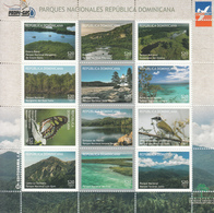 2015 Dominican Republic Dominicana National Parks Birds Whales Marine Life Complete Set Of 4 Miniature Sheets Of 12  MNH - Dominicaanse Republiek