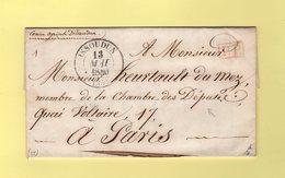 Issoudun - 35 - Indre - 13 Mai 1840 - Port Paye - Destination Chambre Des Deputes à Paris - Marcophilie (Lettres)
