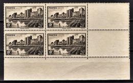 FRANCE 1941 -  Y.T. N° 501 BLOC DE 4 TP - COIN DE FEUILLE NEUFS** - France