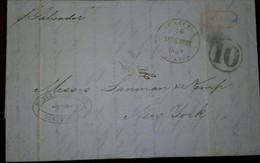 O) 1852 EL SALVADOR, PREPHILATELIC -PRESTAMP, MARITIME MAIL FROM ACEJUTLA -FORWARD AGETN SONSONATE, XF - El Salvador