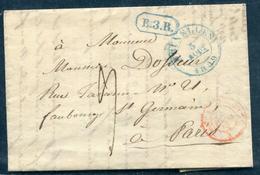 """BELGIQUE - CAD """" BRUXELLES """" BLEU LE 5/8/1839 POUR PARIS - B - 1830-1849 (Belgique Indépendante)"""