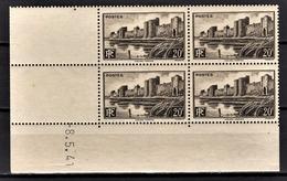 FRANCE 1941 -  Y.T. N° 501 BLOC DE 4 TP - COIN DE FEUILLE / DATE / NEUFS** - Coins Datés