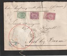 No 56-64-66 (1+2 Fr.) Op Verzekerde Brief / Assuré (Fr. 25.000) Van ANVERS VALEURS Naar NIEL - Beschadigd - Abimée ! - 1893-1900 Barba Corta