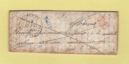 Quingey - 24 - Doubs - 19 Sept 1844 - Destination Nouvelle Orleans Etats Unis Par Le Havre - Griffe SHIP En Bleu - Marcophilie (Lettres)