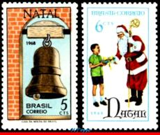 Ref. BR-1110-11 BRAZIL 1968 CHRISTMAS, SANTA CLAUS AND BELL,, RELIGION, SET MNH 2V Sc# 1110-1111 - Nuovi