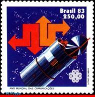 Ref. BR-1856 BRAZIL 1983 TELECOMMUNICATION, WORLD COMMUNICATIONS YEAR, , SATELLITE, SPACE, MI# 1963, MNH 1V Sc# 1856 - Brésil