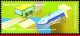 Ref. BR-3218O BRAZIL 2012 RAILWAYS, TRAINS, RIO+20, UN, EFFICIENT, TRANSPORTATION, TRAIN, BUS, MNH 1V Sc# 3218O - Bus