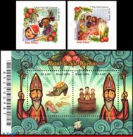 Ref. BR-3288-90 BRAZIL 2014 - RELIGION, ST. NICHOLAS,, GIFTS,CHRISTMAS SUPPER,S/S+SET MNH, CHRISTMAS 4V Sc# 3288-3290 - Brasilien