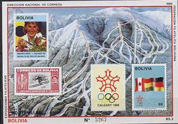 Bolivia, Calgary 1988, S/s # 173 Block 50 Euro - Winter 1988: Calgary