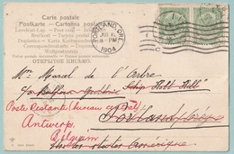 No 56-58 Op 3 Kaarten Naar Scheepsbemanning Portland-Oregon + Retour Poste Restante - 1893-1900 Fine Barbe