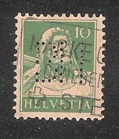 Perfin/perforé/lochung Switzerland No YT161 1921-1942 William Tell BH  Berner Handelsbank  Bern - Perforés