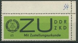 DDR 1965 Für Sendungen Mit Zustellurkunde 2 X Ecke Oben Rechts Postfrisch - [6] République Démocratique