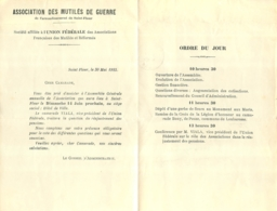 ASSOCIATION DES MUTILES DE GUERRE  ARRONDISSEMENT DE SAINT FLOUR - 1914-18