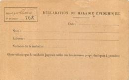 DECLARATION DE MALADIE EPIDEMIQUE CARTE EN FRANCHISE - Santé