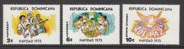 1975 Dominican Republic  Christmas Noel Navidad Musical Instruments Complete Set Of 3 MNH - Dominicaine (République)