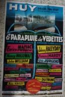 Affiche Spectacle Parapluie Des Vedettes HUY 24/25 Juin 1967 Johnny Hallyday François Hardy Enrico Macias 117X80 Cm Rare - Affiches