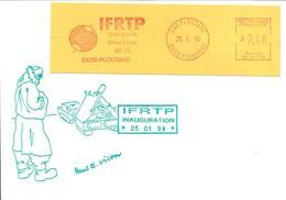 Lettre Avec EMA SATAS 1er Jour De L'IFRTP - Institut Français Pour La Recherche Et La Technologie Polaires - 25/01/1994 - Événements & Commémorations