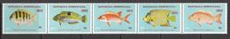 1976 Dominican Republic  Fish Poisson Complete Strip Of 5 MNH - Dominicaine (République)