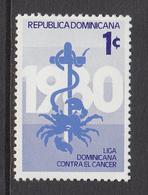 1980 Dominican Republic  Cancer Health  Complete Set Of 1 MNH - Dominicaine (République)