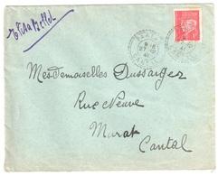 PARLAN Cantal Lettre 1 F Pétain Rouge Yv 514 Ob 27 12 1941 Facteur Boîtier Type 1884 Pointillé Lautier B3 - France