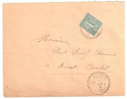 St AMANDIN Cantal Lettre 15c Semeuse Lignée Vert Yv 130 Ob 1905 Facteur Boîtier Type 1884 Pointillé Lautier B2 - France