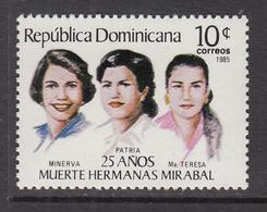 1985 Dominican Republic Mirabel Sisters Political Martyrs  Complete Set Of 1 MNH - Dominicaine (République)