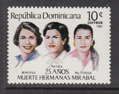 1985 Dominican Republic Mirabel Sisters Political Martyrs  Complete Set Of 1 MNH - Dominican Republic