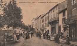 Rare Cpa St Rome De Tarn Avenue De La République Très Animée - France
