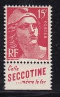 """PUBLICITE : GANDON 15F ROUGE """"SECTINE-colle Même Le Fer"""" ACCP 1127bis NEUF** COTE:25E - Publicités"""