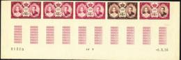 MONACO (1956) Princess Grace. Prince Rainier. Trial Color Proofs In Strip Of 5 With Multicolor. Scott No 367, - Royalties, Royals