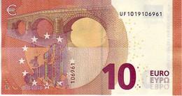 (Billets). 10 Euros 2014 Serie UF , U001G6 Signature Mario Draghi UNC  N° UF 1019106961 - EURO