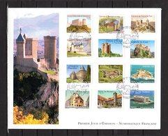 """"""" CHATEAUX ET DEMEURES HISTORIQUES I / ADHESIFS """" Sur Enveloppe 1er Jour Grand Format 2012 N°YT ADH 714 à 725 Parf état - FDC"""