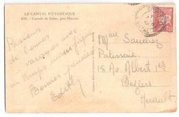 DRUGEAC Cantal Carte Postale 1,20 F Pétain Yv 515 Ob 1942 Facteur Boîtier Type 1884 Pointillé Lautier B3 - France