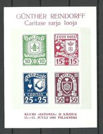 ESTLAND Estonia 1992 Private Souvenir Block Caritas 1937 Abbildung G. Reindorff MNH - Estonia