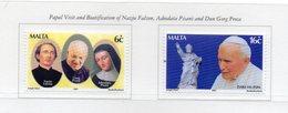 Malta - 2001 - Visita Di Giovanni Paolo II° A Malta - 2 Valori - Nuovi - Vedi Foto - (FDC13889) - Malte
