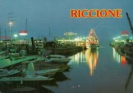 Riccione (Rimini) Porto Canale Notturno, Le Port Canal, The Harbour Canal By Night - Rimini