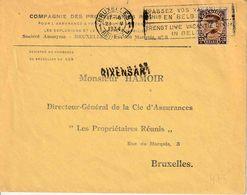 """GRIFFE : BF  PZ (B)  """"BRUXELLES 1934"""" + Griffe """"RIXENSART"""" - Marcophilie"""