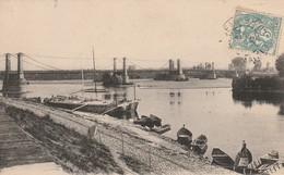 Rare Cpa Montjean Le Pont Suspendu Sur La Loire - France
