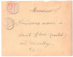 LOUBARESSE Cantal Lettre 15c Mouchon Yv117 Ob 1905 Facteur Boîtier Type 1884 Pointillé Lautier B2 C Boite Rurale RECOUX? - France