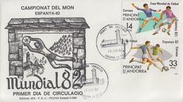Enveloppe  FDC  1er  Jour   ANDORRE    Coupe  Du   Monde  De  Football   1982 - Coupe Du Monde