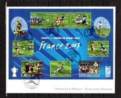 """"""" COUPE DU MONDE DE RUGBY 2007 EN FRANCE """" Sur Enveloppe 1er Jour Grand Format N° YT BF 110 Parfait état. FDC - Rugby"""