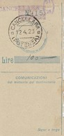 Cancellara.1923. Annullo Guller CANCELLARA (POTENZA) + Frazionario 51/25, Su Ricevuta Vaglia - 1900-44 Vittorio Emanuele III