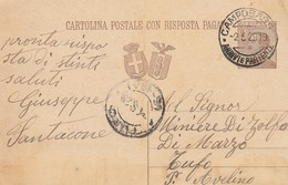Campobasso.1929. Annullo Guller CAMPOBASSO *ARRIVI  E PARTENZE*, Su Cartolina Postale Con Risposta Pagata - 1900-44 Vittorio Emanuele III
