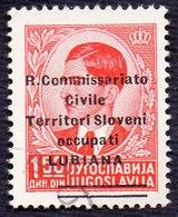 YUGOSLAVIA - ITALIA - SLOVENIA - LUBIANA - R. COMMISSARIATO SOPRASTAMPA - Sass. 34 -  Used - 1941 - Slovénie