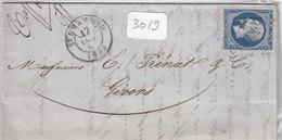 France 10 Lettres (plis ) N° 14 - 20c Bleu Losange PC - Marcophilie (Lettres)