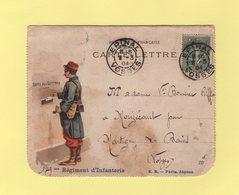 Carte Lettre Illustree - 149eme Regiment D Infanterie - Epinal Vosges - 8-3-1904 - Type Semeuse - Boite Aux Lettres - Marcophilie (Lettres)
